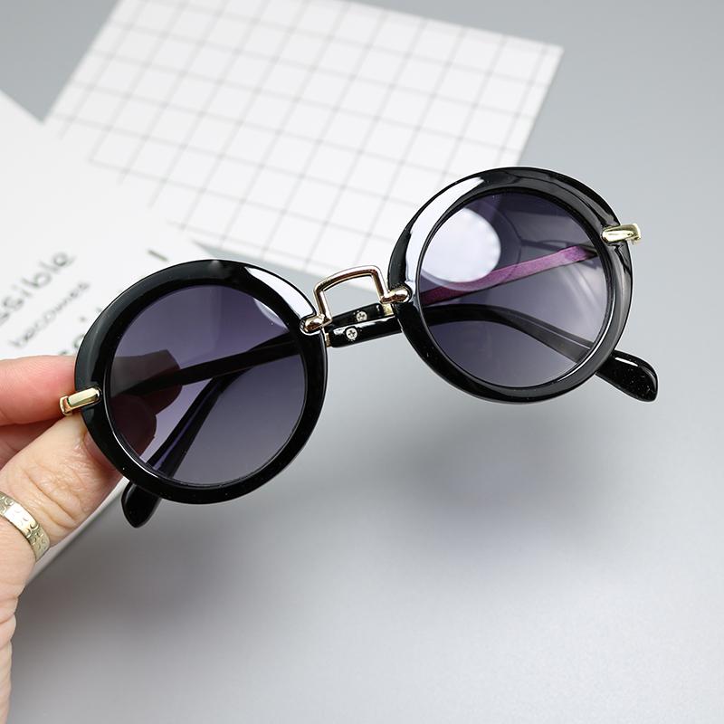 新款儿童太阳镜小孩墨镜宝宝眼镜圆框金属蛤蟆镜男女童遮阳镜包邮10-18新券