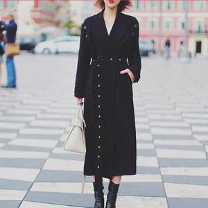 Liseyen mùa thu phụ nữ 2018 new black coat nữ over the knee dài retro eo belt jacket