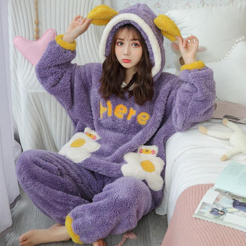 秋冬季韩版学生可爱加厚珊瑚绒法兰绒睡衣