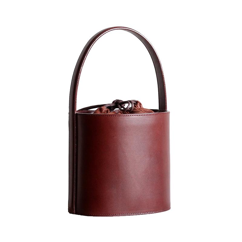 法式个性复古感手提水桶包植鞣牛皮手工定型单肩包时尚斜挎女包