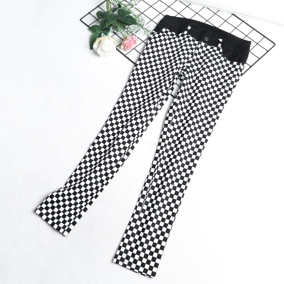 P1 Người Anh màu đen và trắng quần kẻ sọc nữ mùa hè phần mỏng chín quần quần mùa thu quần mới chân thường thủy triều hoang dã