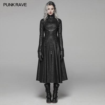 taobao agent PUNK RAVE punk state women's clothing dark punk long coat cracked knit leather rock singer costume