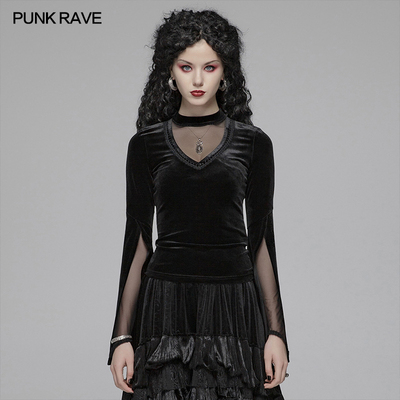 taobao agent PUNK RAVE punk state women's clothing dark gothic double-sleeved T-shirt Gothic style hollow