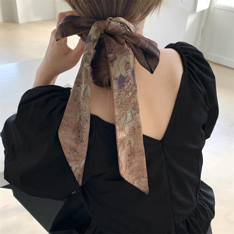 如是敦煌 艺术感长条优雅双面小丝巾中国风发带绑发春秋装饰领巾