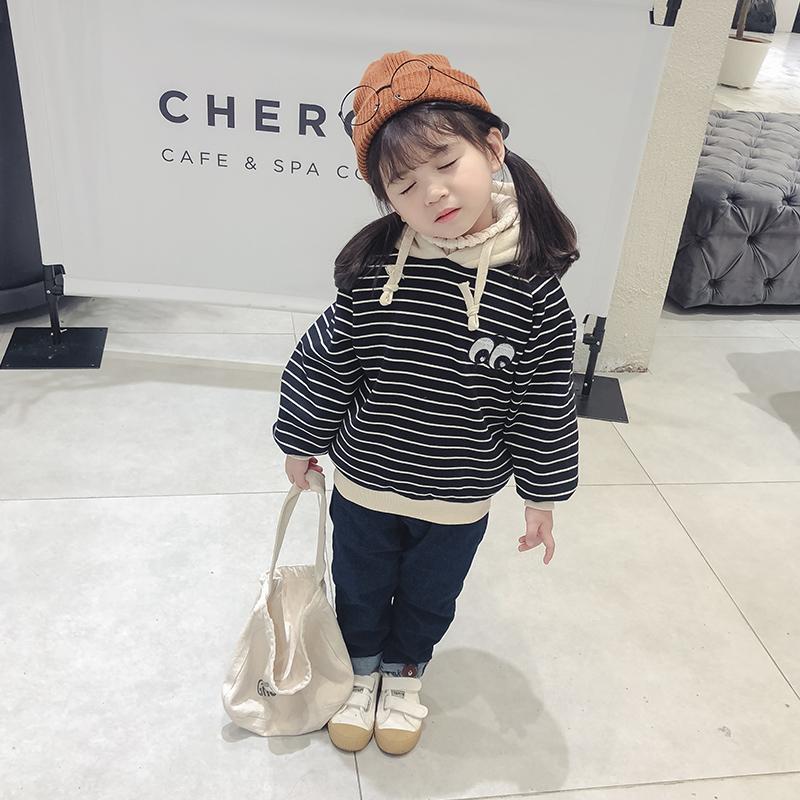 童装女童卫衣加绒加厚冬装新款儿童条纹连帽宝宝洋气卫衣 潮