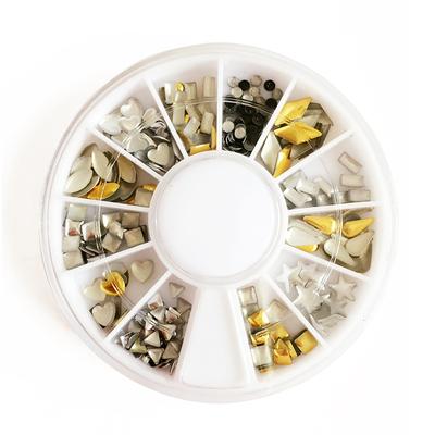 美甲饰品贴片 韩国12格盒装指甲钻 金属铆钉多款混装美甲用品套装