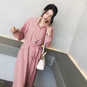 ◆ MC ◆ 2018 mùa thu khí mới là mỏng eo áo gió dài tay cổ áo cổ áo dài áo nữ phần mỏng