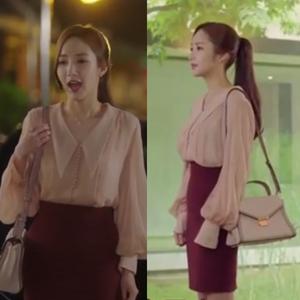 Tại sao Kim thư ký tại sao là Park Minying với cùng một đèn lồng tay áo áo thun voan phụ nữ + bộ váy