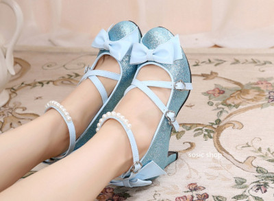 taobao agent Lolita stage glitter cute pearl tea party high thick-heeled cross bow simple handmade small leather shoes