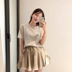 2039#韩国chic 简洁优雅 清爽极简镂空好搭配短袖针织衫 现货