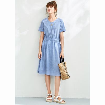 Belle Garden tươi sọc màu xanh và trắng eo Đàn Hồi V nhỏ cổ áo cổ áo ngắn tay Một từ dài ăn mặc 18 mùa hè váy đầm