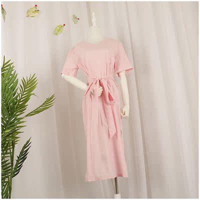 Tao Tao quần áo mùa hè mới chia màu tinh khiết V-Cổ áo sơ mi mỏng dress nữ 52396 # Sản phẩm HOT