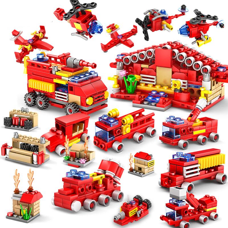 儿童积木<font color='red'><b>玩具</b></font> 城市警察拼装消防车模型