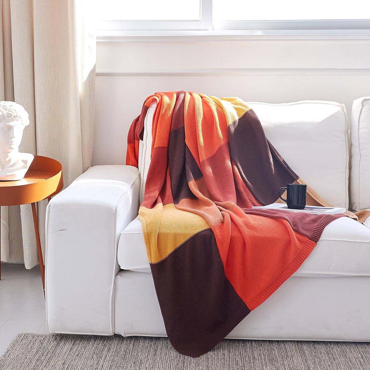 小井家拼接方格全棉针织毯子 ,送闺蜜女生实用礼物