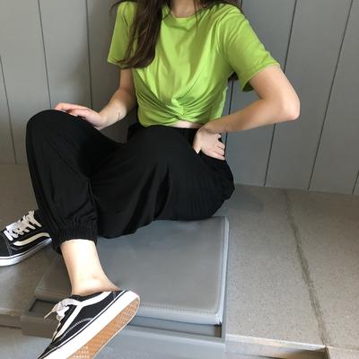 kumayes 新款宽松垂感束口裤显瘦高腰长裤灰色运动休闲裤女薄