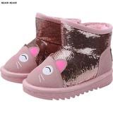 Детские угги зима стиль на девочку мультипликация детские угги прекрасный утепленный хлопок ботинок водонепроницаемый удерживающий тепло ботинки с утеплением замшевый