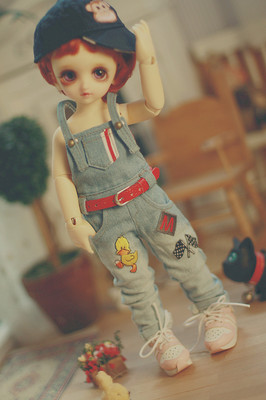 taobao agent 【endless】bjd6 points yosd/small cloth/etc. baby clothes denim overalls are washed and worn by hand
