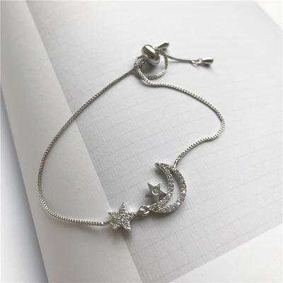 曼迪花园|韩国浪漫星星月亮镶钻S925银手链 简约小清新少女心首饰