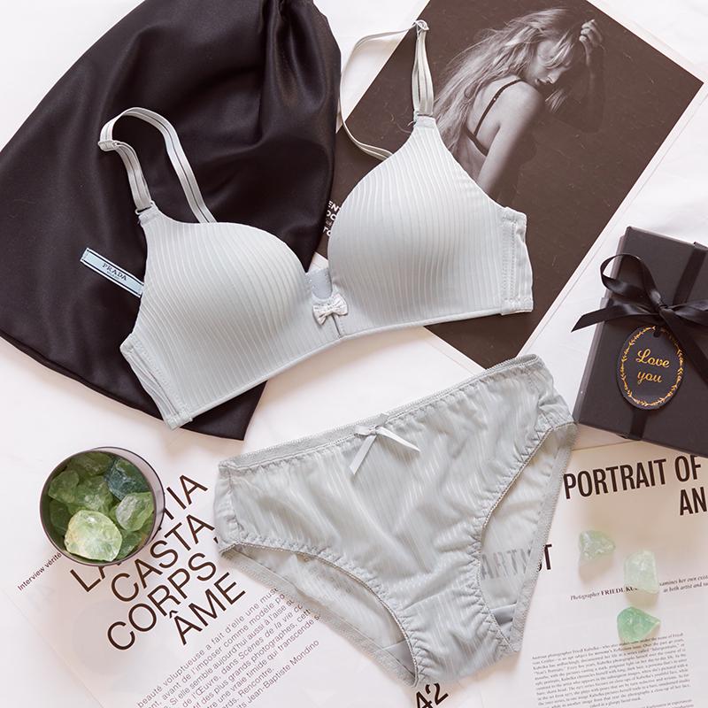 法式性感蕾丝三角杯内衣套装女 文胸聚拢 无钢圈大胸显小薄款内裤