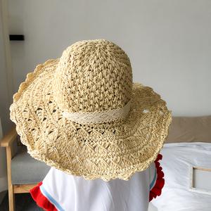 实拍实价~1235#夏季遮阳草帽女蕾丝绑带太阳帽沙滩帽折叠旅行镂空