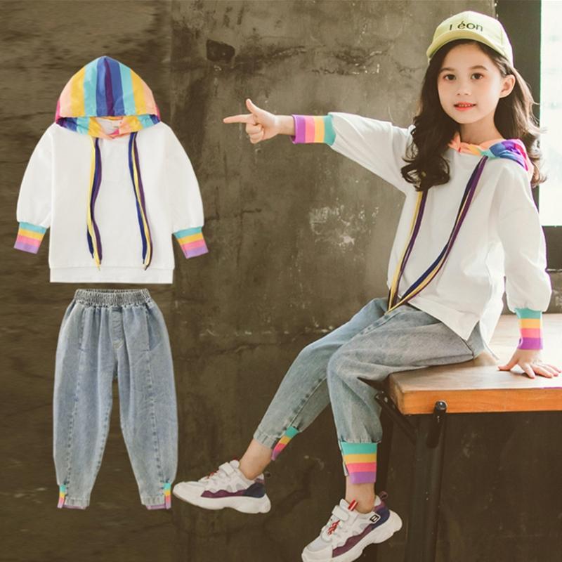 气质儿童2019新款秋装韩版女童卫衣+牛仔裤潮童两件套女童装套装