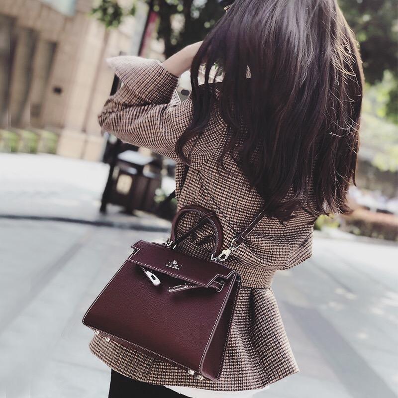 手掌纹凯莉包包女2017新款韩版秋冬手提包手搓纹斜挎包休闲单肩包