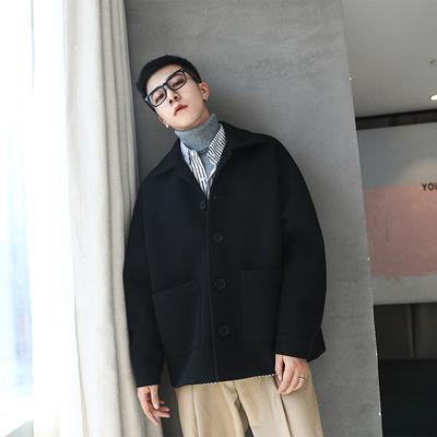胖胖哥夹克男秋季纯色翻领外套新款宽松百搭上衣潮流大码胖子男装