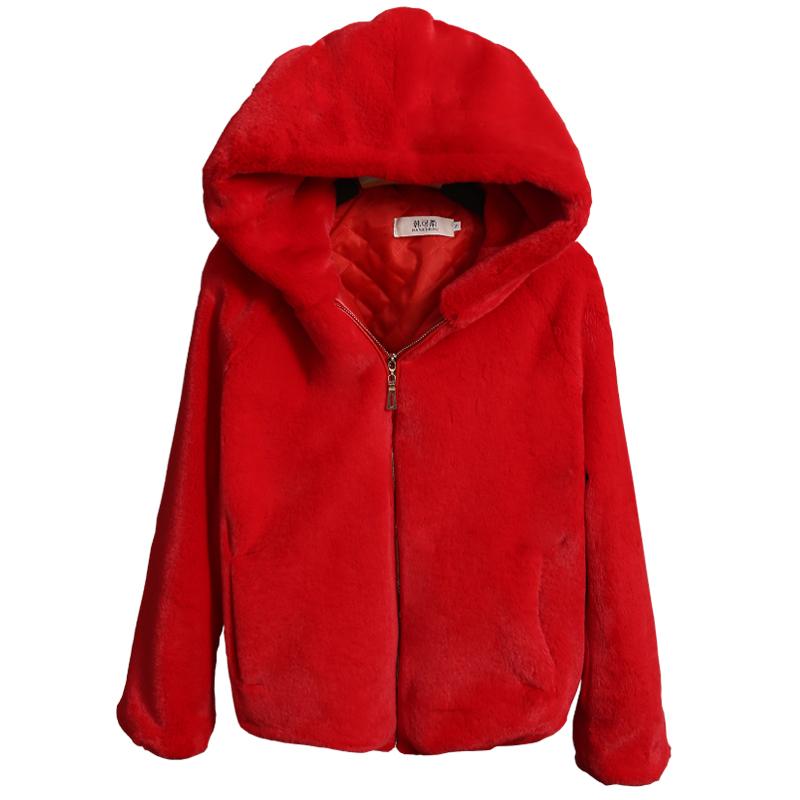2017 mới của Hàn Quốc phiên bản của giả lông thỏ cỏ nữ phần ngắn dày lỏng trùm đầu fur coat mùa đông sang trọng áo