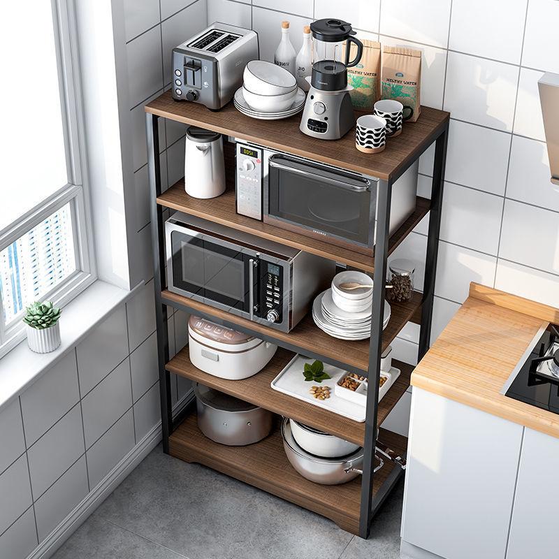 1厨房收纳置物架落地式多层微波炉用品家用大全放锅碗调料储物架
