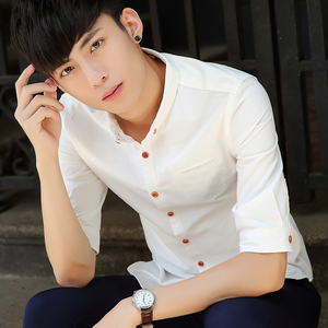 男士韓版修身襯衣 男裝薄款棉麻休閑亞麻白襯衫 男式五分中袖