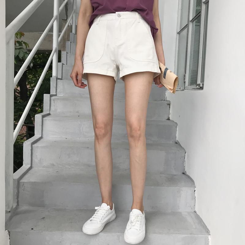 夏装女装宽松百搭纯色牛仔裤简约阔腿裤高腰直筒裤热裤短裤潮