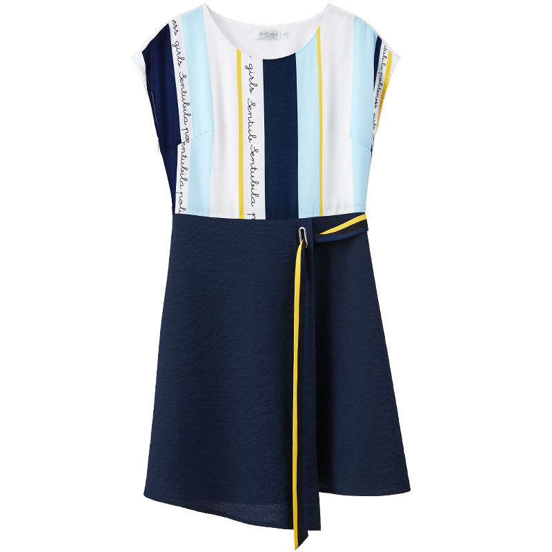 [Giá mới 149 nhân dân tệ] 2018 mùa hè sọc hit in màu bất thường ngắn tay áo gió lạnh đầm khí