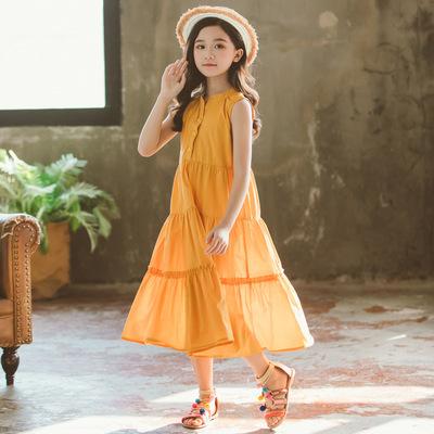 夏款中大童女童裙新款蛋糕裙超大裙摆无袖拼接亲子连衣裙