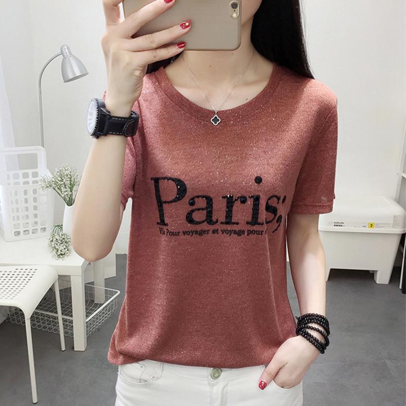 韩版冰丝镶钻亮丝上衣ins针织短袖t恤