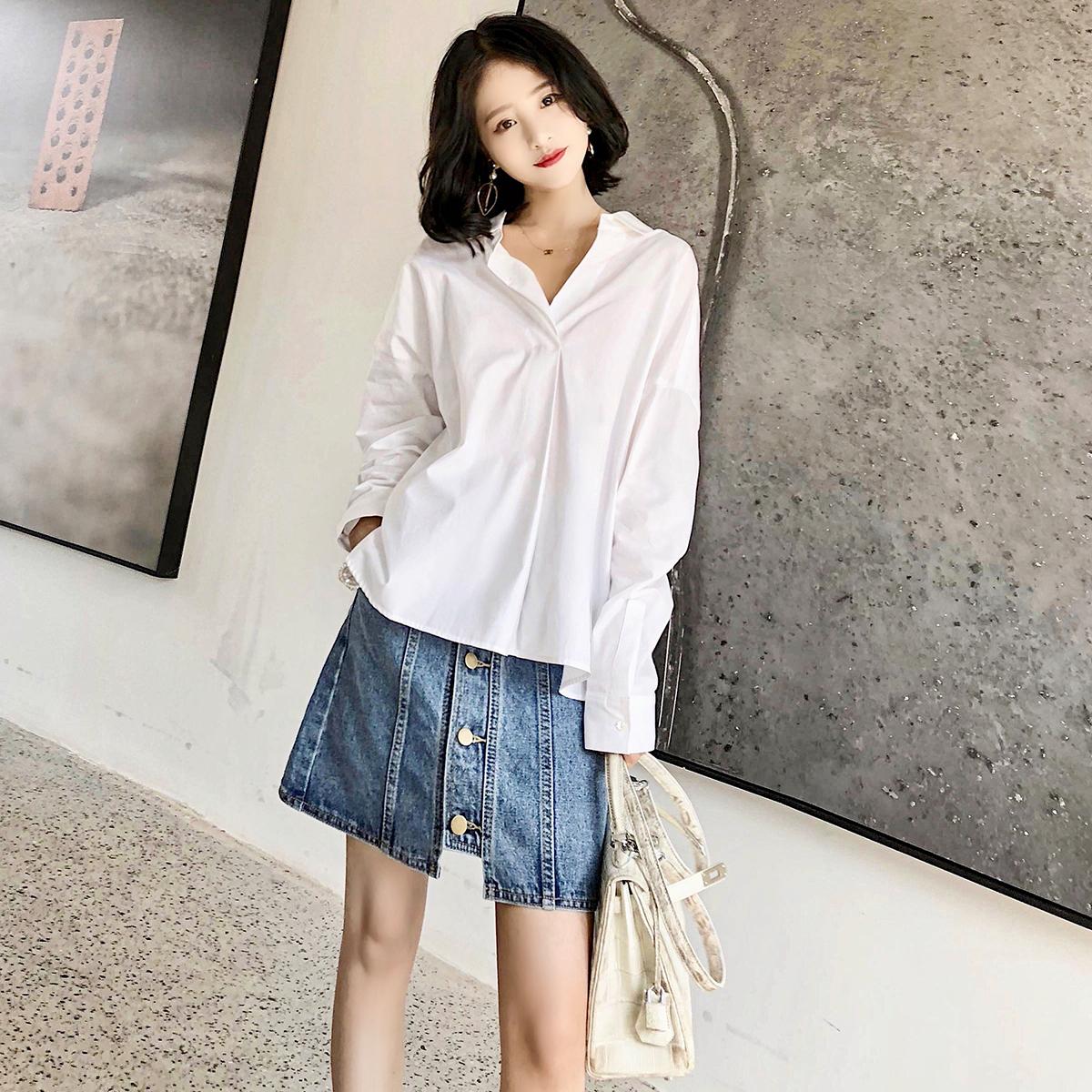 大喜自制春装新款百搭复古系带纯色宽松简约短款长袖衬衫女