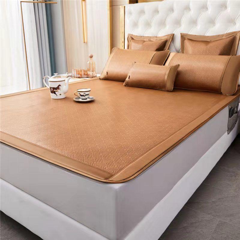 高档双面凉席三件套1.5m家用双人床1.8米2米冰藤席两用可折叠0.8m