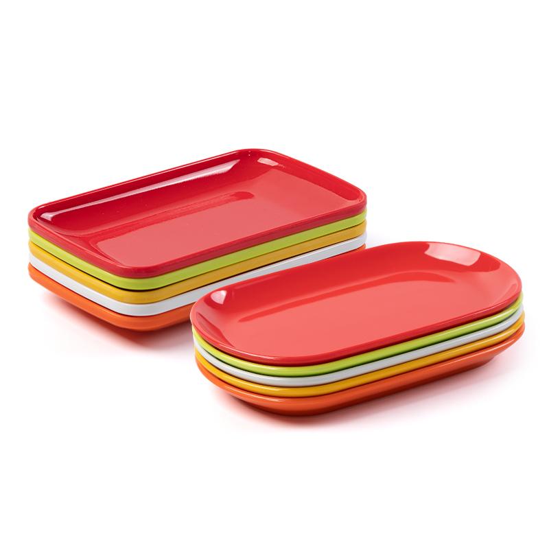 密胺小塑料盤子火鍋店菜盤腸粉碟長方形專用粉盤餐具盤子商用碟子