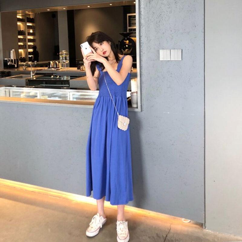 法国复古裙山本春装流行裙子新款吊带裙过膝长裙连衣裙女