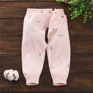 春夏天单层纯棉开裆裤新生婴儿可调节腰围秋线裤宝宝无骨长裤子