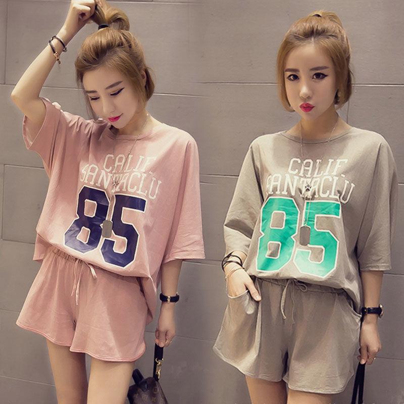 韩版夏季短袖女士睡衣可外穿宽松可爱学生大码夏天两件套装家居服