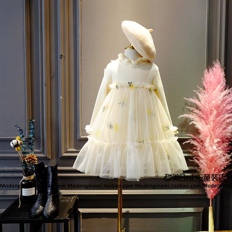 甜美家~女童小菠萝木耳边立领刺绣拼接网纱针织连衣裙中大童装
