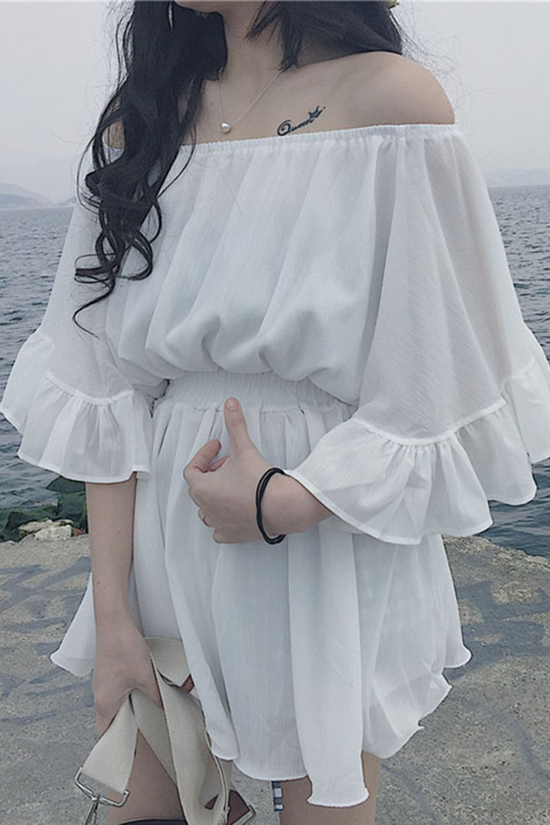 Tân Cảng mùa hè gió cổ áo quây flounced khí Sleeve eo là culottes mỏng giản dị nữ Xiêm