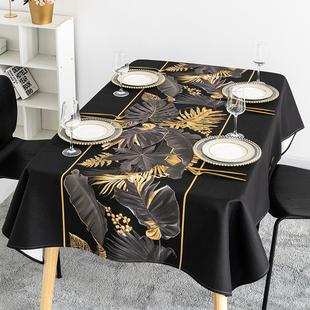 黑金简约桌布北欧桌布长方形桌布