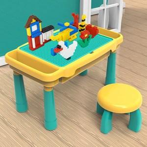 儿童多功能积木桌玩具拼装益智大小颗粒游戏桌宝宝2-3周岁男女孩6