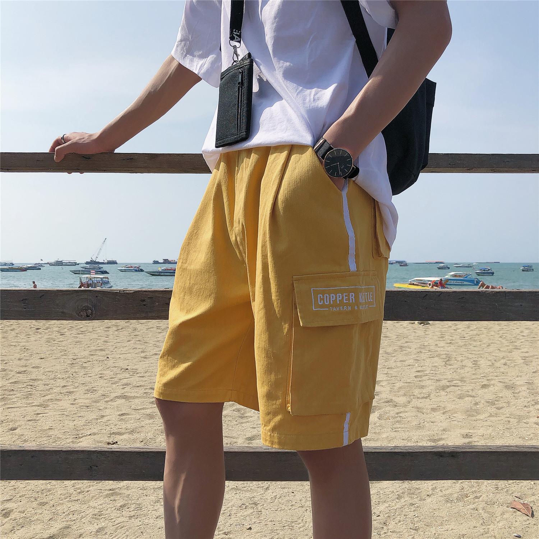 @方少男装 夏季潮流字母刺绣口袋工装短裤学生休闲沙滩五分裤