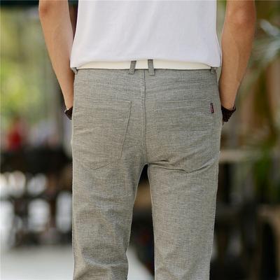 Mùa hè mới linen quần âu nam phần mỏng băng lụa cotton quần Slim stretch thẳng Hàn Quốc phiên bản của quần thủy triều