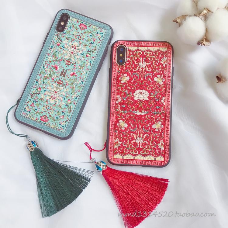 复古中国风囍苹果X手机壳iphone8/7/xsmax创意流苏6s软硅胶套防摔