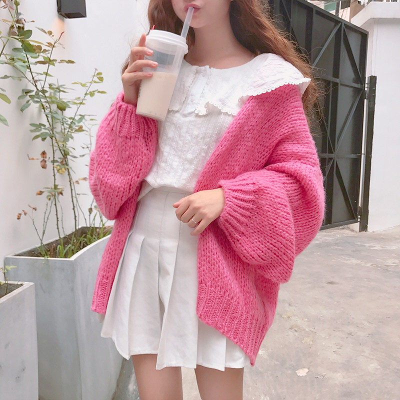 Winter Women's Nakanaga Harajuku Pink Sweater Coat Mori Girl ...