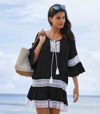 1381#欧美竹节布花边抽绳喇叭袖沙滩裙比基尼罩衫海边度假防晒衫