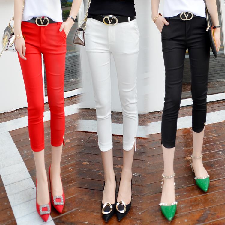 Cắt quần nữ mùa hè chân quần quần âu màu đen là mỏng 7 điểm quần nữ quần bút chì phần mỏng tám điểm phù hợp với quần